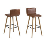 Fridi Barstool, Brandy Faux Leather, Set of 2