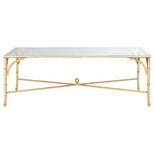 Safavieh Grayson Coffee Table, Gold and Clear Glass