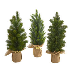 """15"""" Mini Cypress and Pine Artificial Tree, Set of 3"""