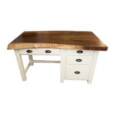Live Edge Walnut Desk with Copper Epoxy River, 32x55
