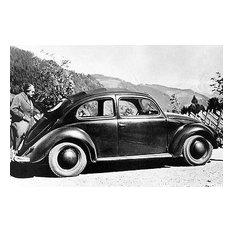 """1939 Volkswagen Beetle Prototype & Ferdinand Porsche, Photo Poster, 13""""x19"""""""