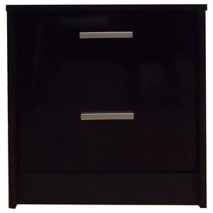 Khabat 2-Drawer Bedside Table, Black and Black Oak