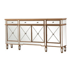 """Elegant Decor Contempo 4 Door 72"""" Mirrored Sideboard in Hand Rubbed Antique Gold"""