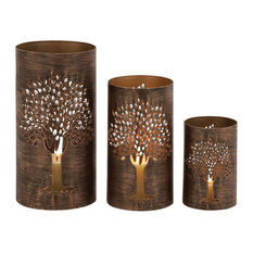Sleek and Modern Inspired Exceptional Set of 3 Metal Tree Hurricane