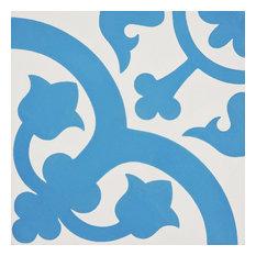 """8""""x8"""" Melah Handmade Cement Tile, Blue/White, Set of 12"""