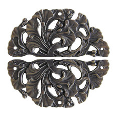 Florid Leaves Hinge Plate Antique Brass Sold, Pairs, Antique Pewter