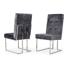 Modrest Legend Modern Gray Fabric And Stainless Steel Dining Chair Set Of 2