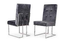 Modrest Legend Modern Gray Fabric and Stainless Steel Dining Chair, Set of 2