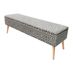 """52"""" Lift Top Upholstered Storage Ottoman With Wooden Legs, Moroccan Gray"""