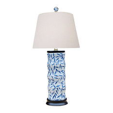 """Blue and White Bamboo Floral Bamboo Style Porcelain Vase Table Lamp 24"""""""