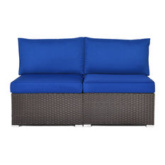 Costway 2PCS Patio Rattan Armless Sofa Sectional Furniture W/Navy Cushion