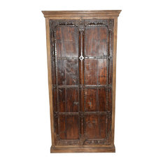 Mogul Interior - Consigned Reclaimed Vintage Patina Antique Armoire - Armoires And Wardrobes