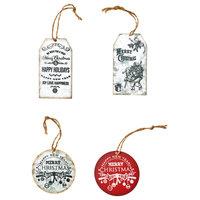 Galvanized Metal Christmas Ornaments, Set Of 4