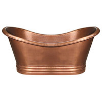 Handmade Copper Double Ended Freestanding Bathtub, Hammered Copper