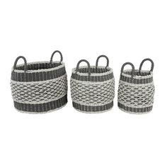 "Set of 3 Grey Plastic Eclectic Storage Basket, 18"", 17"", 16"""