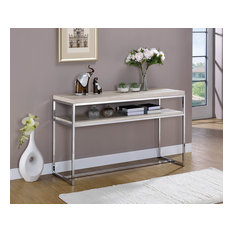 Metal Sofa Table with Wooden Top and Shelf, Silver and Weathered White