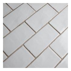 """3""""x6"""" Antiguo Craquelle Ceramic Wall Tile, Gris Claro, Set of 32"""