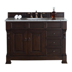 "48"" Vanity Cabinet, Drawers, Burnished Mahogany, No Counter Top"