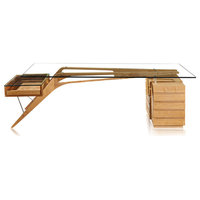 Midcentury Modern 1949 Protractor Wood and Glass Desk, Natural Ash