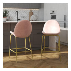 Astor Velvet Upholstered Counter Stool With Brass Metal Leg Pink