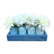 Sea Breeze Quart Mason Jar Planter Box Centerpiece, 5 Piece Set