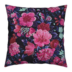 Tropical Floral Flowers Midcentury Island Mid Throw Pillow Velvet