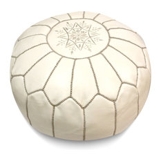 Moroccan Leather Stuffed Pouf, White With Grey Stripes