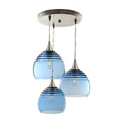 Lucent 3-Light Cascade Pendant No. 302b, Blue Glass Shades