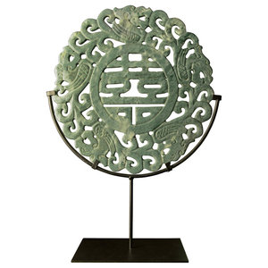 Jade Double Happiness Medallion with Iron Stand