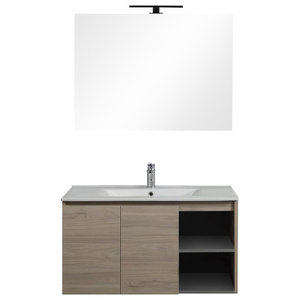 Berlin Door and Compartment Bathroom Vanity Unit, Walnut, 90 cm
