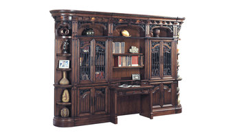 Barcelona 6-Piece Library Bookcase Wall Unit With Desk