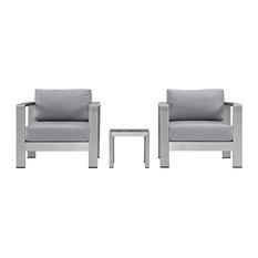Shore 3-Piece Outdoor Aluminum Set, Silver Gray