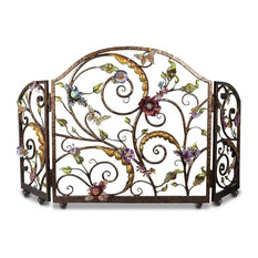 Jay Strongwater Vincente Floral Fireplace Screen Jewel Finish