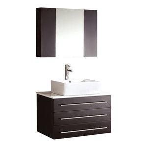 30 Quot Single Bathroom Vanity In White White Man Made Stone