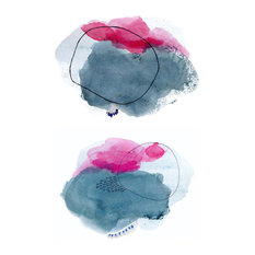 """Watercolor Abstract Art Prints, Pink and Blue, Set of 2, 24""""x36"""""""