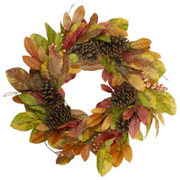 """Leaves and Berries Artificial Fall Harvest Twig Wreath, 26"""", Unlit"""