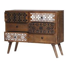 Sheboygan Rustic Reclaimed Wood Moroccan 6 Drawer Bedroom Dresser