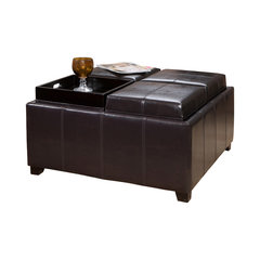 Harley Leather 4 Tray Top Storage Ottoman Espresso