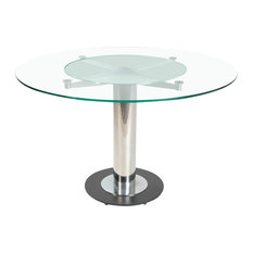 Zuri Furniture   Fiore Round Glass Dining Table   Dining Tables