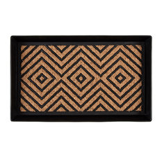 """24.5""""x14""""x1.5"""" Black Metal Boot Tray With Diamond Coir and Rubber Insert"""