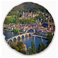 "Neckar River and Heidelberg Cityscape Photo Throw Pillow, 20"" Round"