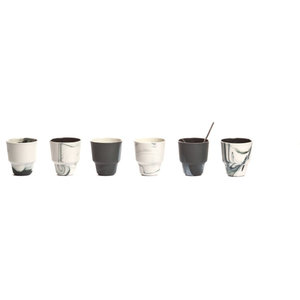 Pigments and Porcelain Espresso/Coffee Cups, Black and White, Set of 6, Small