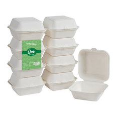 """Oak PLUS Sugarcane Clamshell Containers, 300 Pack, White, 6.10""""lx5.91""""w, 450ml"""