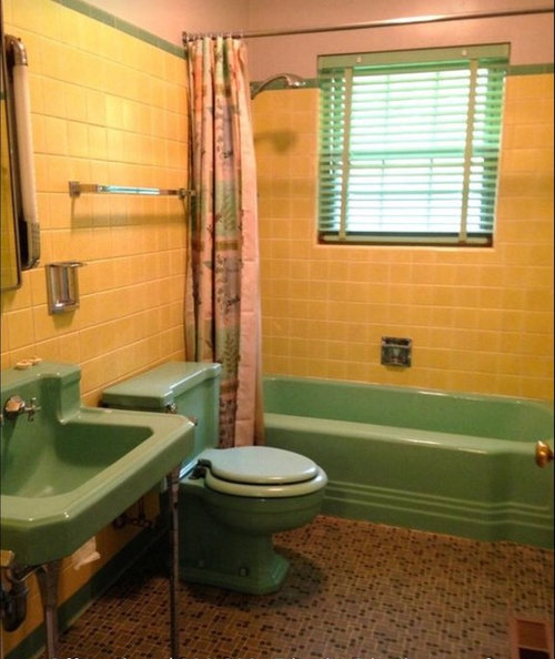 Fabulous Help With 50S Yellow Green Bathroom Download Free Architecture Designs Jebrpmadebymaigaardcom