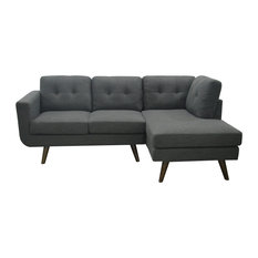 Drake Upholstery Fabric Sectional Charcoal Gray Facing Right