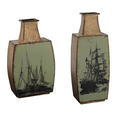 2-Piece Vases With Ship Print Set