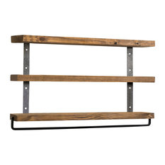 Industrial 3-Tier Floating Shelf With Towel, Walnut