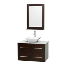 "Centra 36"" Espresso Vanity, Carrera Marble Top, 24"" Mirror, Pyra White Porcelain"