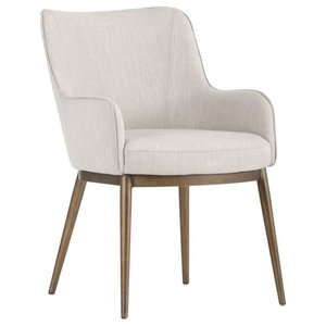 Leather Dining Chair With Rustic Brass Legs, Beige Linen