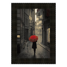 """""""Red Rain"""" By Stefano Corso, Framed Wall Art, Ready to Hang"""
